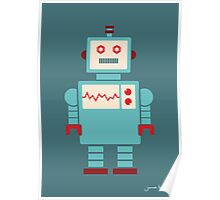 Robot graphic (Blue on blue) Poster