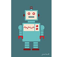 Robot graphic (Blue on blue) Photographic Print