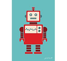 Robot graphic (Red on blue) Photographic Print