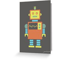 Robot graphic (Orange & blue on gray) Greeting Card