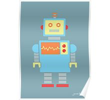 Robot graphic (Primary colors on blue) Poster