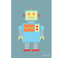 Robot graphic (Primary colors on blue) Photographic Print