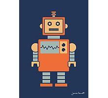 Robot graphic (Orange on navy) Photographic Print