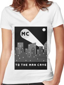 Man Cave 2 Women's Fitted V-Neck T-Shirt