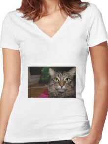 Cute Christmas Cat Women's Fitted V-Neck T-Shirt