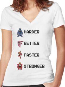 Harder Better Faster Megaman Women's Fitted V-Neck T-Shirt