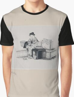 A Japanese woman with one shoe  geta off  to operate spinning machine spinning silk from silkworm cocoons 001 Graphic T-Shirt
