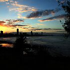 Sunset Silhouettes Burleigh Heads by Noel Elliot