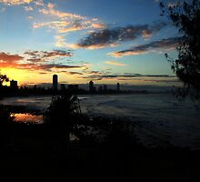 Sunset Silhouettes Burleigh Heads by Noel Elliot