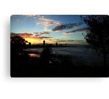Sunset Silhouettes Burleigh Heads Canvas Print