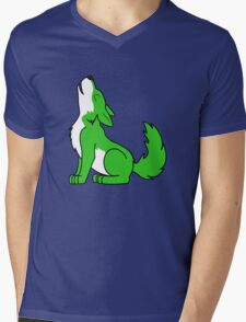 Green Howling Wolf Pup Mens V-Neck T-Shirt