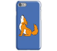 Orange Howling Wolf Pup iPhone Case/Skin