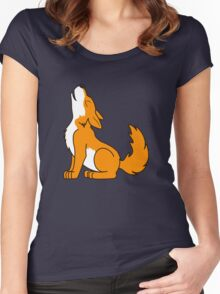 Orange Howling Wolf Pup Women's Fitted Scoop T-Shirt