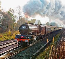 """Stanier pacific """"Princess Elizabeth"""" at speed, as a painting by John Morris"""