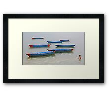 Pokhara Boats & Boy Framed Print