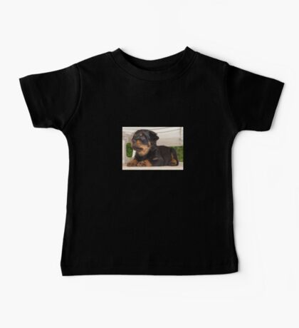 Cute Faced Rottweiler Puppy Side View Baby Tee