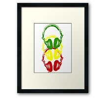 Rasta Colors Head Phones Stencil Style Framed Print