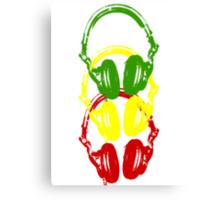 Rasta Colors Head Phones Stencil Style Canvas Print