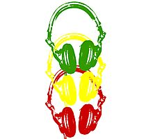 Rasta Colors Head Phones Stencil Style Photographic Print