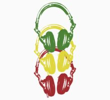 Rasta Colors Head Phones Stencil Style by humanwurm