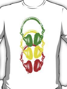 Rasta Colors Head Phones Stencil Style T-Shirt
