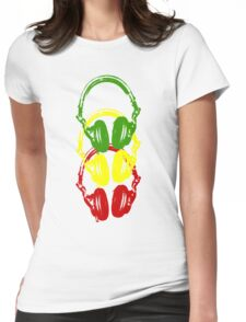 Rasta Colors Head Phones Stencil Style Womens Fitted T-Shirt