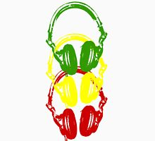 Rasta Colors Head Phones Stencil Style Unisex T-Shirt
