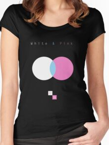 White & Pink Women's Fitted Scoop T-Shirt