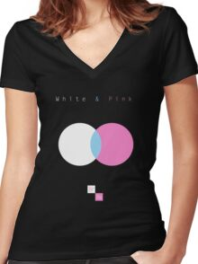 White & Pink Women's Fitted V-Neck T-Shirt