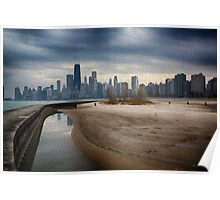 Chicago Skyline Digitally Painted Poster