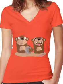 Twin Bears Women's Fitted V-Neck T-Shirt
