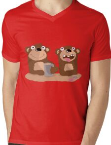 Twin Bears Mens V-Neck T-Shirt