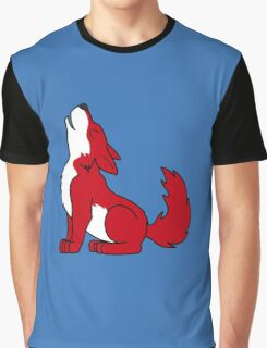 Red Howling Wolf Pup Graphic T-Shirt