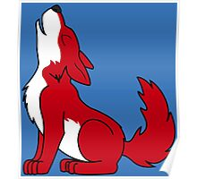 Red Howling Wolf Pup Poster