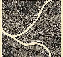 PITTSBURGH MAP by JazzberryBlue