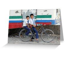 Nepali Bicycle Boys Greeting Card