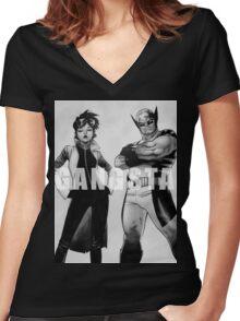 GANGSTA X-MEN (JUBILEE & WOLVERINE) Women's Fitted V-Neck T-Shirt