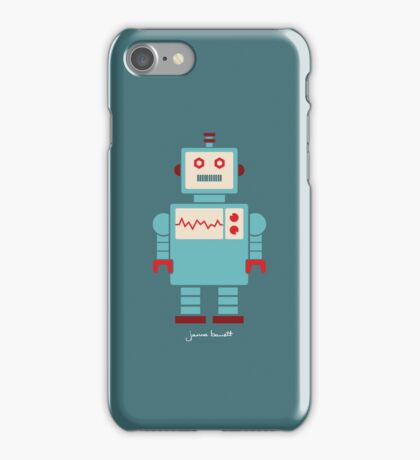 Robot graphic (Blue on blue) iPhone Case/Skin