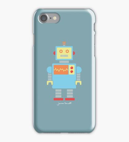 Robot graphic (Primary colors on blue) iPhone Case/Skin