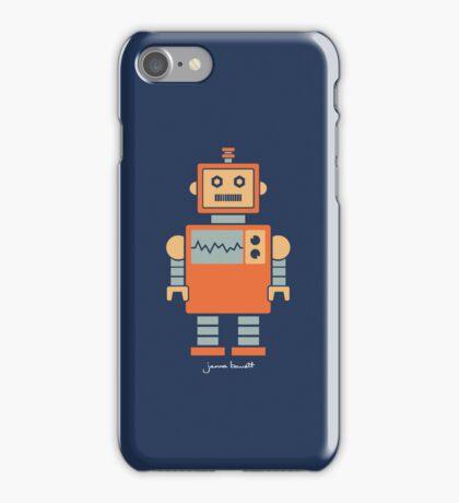 Robot graphic (Orange on navy) iPhone Case/Skin