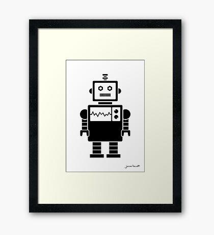 Robot graphic (Black on white) Framed Print