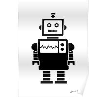 Robot graphic (Black on white) Poster