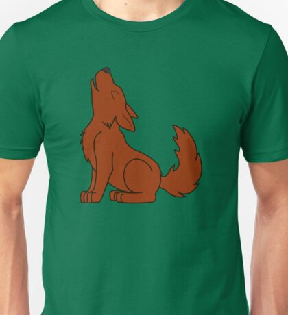 Solid Natural Red Howling Wolf Pup Unisex T-Shirt