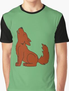 Solid Natural Red Howling Wolf Pup Graphic T-Shirt