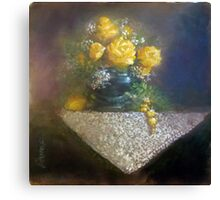 Yellow Roses and Topaz Canvas Print