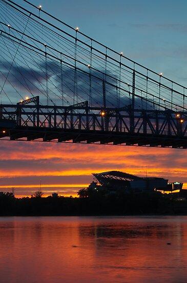 Sunset Under Roebling Bridge by thatche2