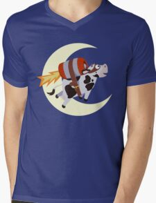 The Cow's Successful Mission Over The Moon Mens V-Neck T-Shirt