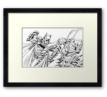 Batman and Ryu Framed Print