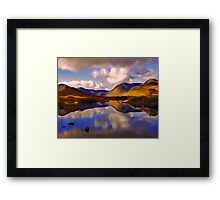Mount Reflects on the Moor Digital Art Framed Print