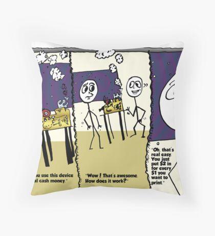 Internet Money Printer Editorial Business Cartoon Throw Pillow